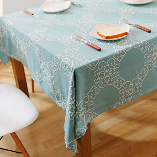 LINENLUX Cotton Linen Tablecloth Floral Embroidery Table Cover for Dinner - Oval Blue Embroidery