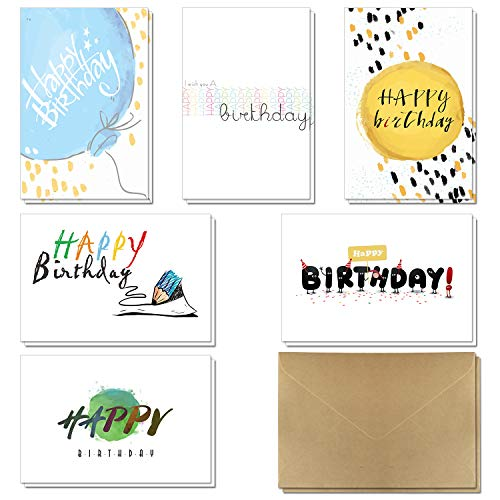 Birthday Cards - 36 Pack Happy Birthday Greeting Cards in 6 Handwritten Modern Styles by KUMY with Self-Sticky Kraft Envelopes Great Assorted Choice for Kids Men and Women, 4x6 Inches Blank Inside