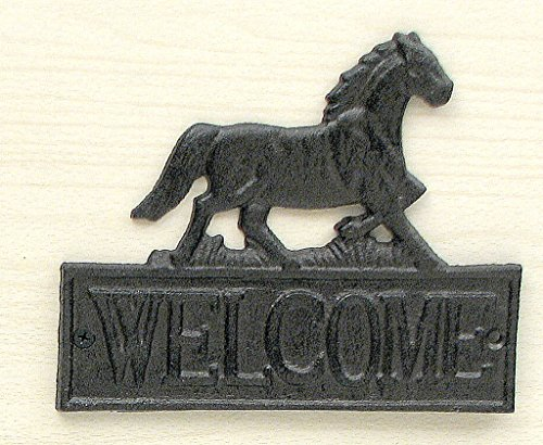 HomeCrafts4U Horse Statue Welcome Sign Indoor Outdoor Ornament Wall Fence Mount Decorative Plaque Iron Figure Black Knight Western ()