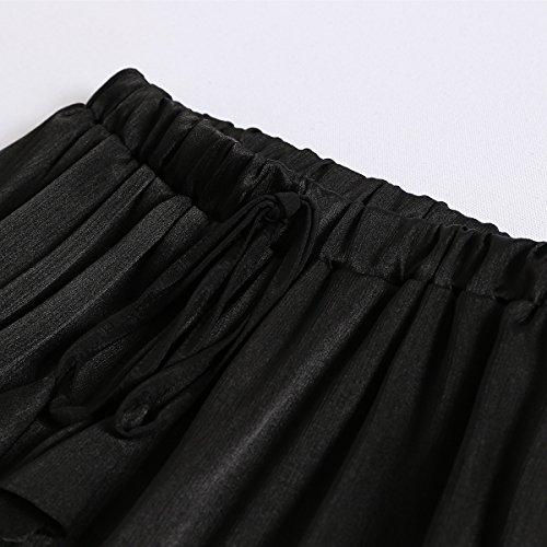da Pantaloncini Pantaloni Size Nero Elastico pieghe vita Oudan in Chic con Plus spiaggia Shorts da donna PtwxFxaqI