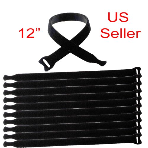 Pack of 15 12'' Black Hook and Loop Fastener Cable Tie Down Straps Reusable Cord Hook & Loop Cord Cable Speaker Power Cord Straps Tie Down