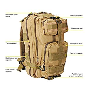 Oubakeji A-001 Military Tactical Backpack Water-Proof Nylon Military Outdoor Trekking Camping Tactical Mole Pack for Men Women and Kids (Khkal), 30L, Multicolor