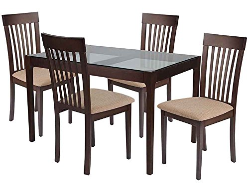 Flash Furniture Clayton 5 Piece Espresso Wood Dining Table Set with Glass Top and Rail Back Wood Dining Chairs - Padded Seats - Beechwood Fan Back Chair