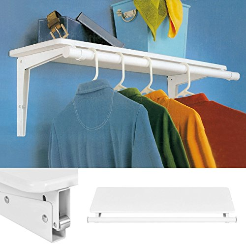 Wall Mount Folding Storage Shelf Utility Rack Holder Home Organizer Hanger by Apontus