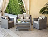 Solaura Outdoor Patio Furniture Set 4-Piece Conversation Set Gray Wicker Furniture Sofa Set with...