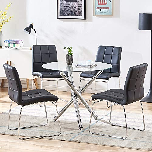SICOTAS 5 Piece Round Dining Table Set, Modern Kitchen Table and Chairs for 4 Person,Dining Room Table Set with Clear Tempered Glass Top, Dining Set for Dining Room Kitchen (Table + 4 Black Chairs)