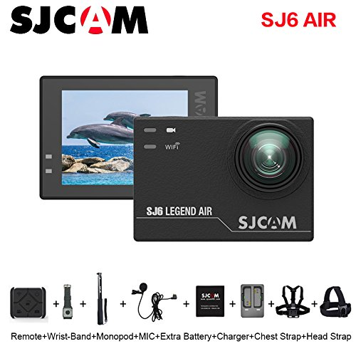 SJCAM SJ6 AIR Action Sports Camera Full HD 1080P 166°Wide Angle Waterproof Action Cam Sports DV Camcorder, with Mount of Accessories, Black Action Cameras SJCAM