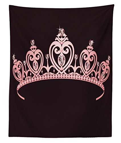 Lunarable Princess Tapestry Twin Size, Pale Pink Crown with Diamond Figures Ruler of The Nation Royal Family Costume Image, Wall Hanging Bedspread Bed Cover Wall Decor, 68 W X 88 L inches, Pale Pink from Lunarable