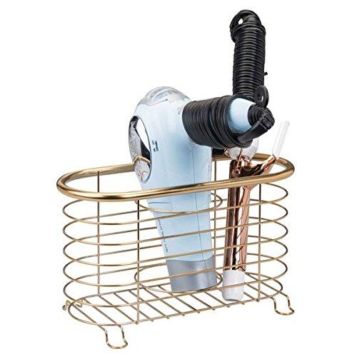 mDesign Bathroom Countertop Storage Organizer Basket for Hair Dryer, Flat Irons, Curling Wands - Chrome MetroDecor 9178MDBST