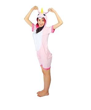 Kenmont Unicorn Pijamas Traje Disfraz Adulto Animal Pijamas Cosplay Halloween Verano (S: 145-155cm, Rosa Conejo)