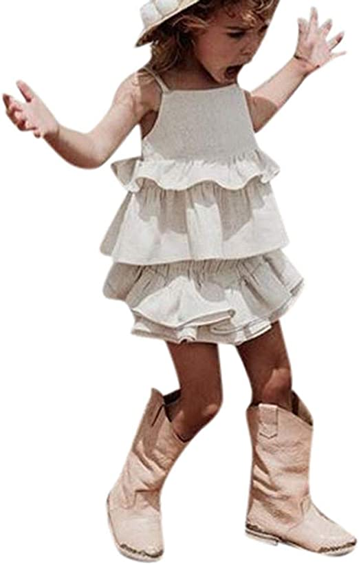US Toddler Kid Baby Girl Ruffle Sling Tops Long Pants 3PCS Outfit Clothes Summer
