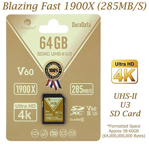 Amplim 64GB UHS-II SDXC SD Card Blazing Fast Read 285MB/S  C