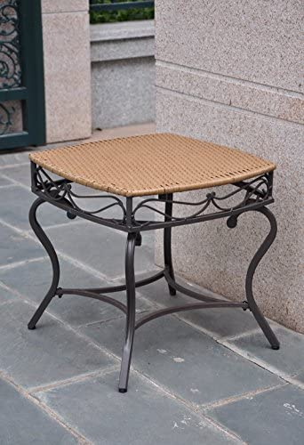International Caravan 523697 Wicker Resin Steel Patio Side Table in Honey Finish, Yellow