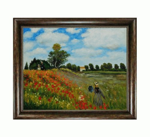 overstockArt Monet Poppy Field in Argenteuil Oil Painting with Verona Cafe Coffee Brown Patina Finish (Field Poppy Argenteuil)