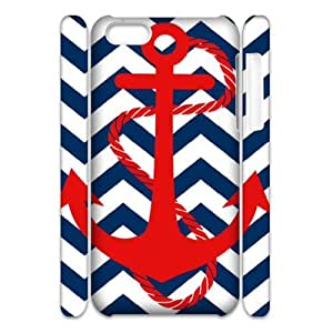 3D Nuktoe Anchor and Chevron Case For iPhone 5C With Unique Design With White