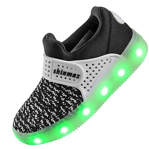 di del Nero2 Lampeggiante Shinmax con Certificato Scarpe per LED CE Tennis Unisex da 7 Regalo Scarpe Luci con del Colori di Carica USB Natale Partito Promenade Giorno Il pTqHwAp