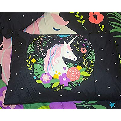 CAReeN Unicorn Bedding. Magical Horse Unicorn Duvet Cover Set, 3PCS Black Pink White Twin, Full & Queen Bedding Set Cute Duvet Covers for Teen Girls. 2 Pillow Cases, 1 Duvet Cover Bed Sets.: Home & Kitchen