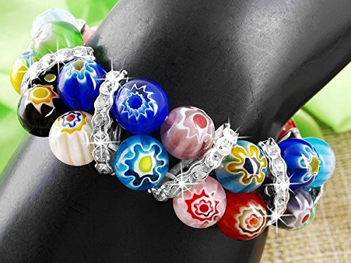 Ecloud Shop Unique style Stretch Crystal Lampwork Murano Beads Bracelet fashion Bangle