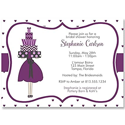 bridal shower invitations presents full of love purple wedding tiny hearts gifts