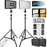 FOSITAN Dimmable Bi-Color 336 LED Video Light with 75 inch Light Stand Including (2) Battery and (2) Charger, CRI 96+ 3200K-5600K Photography Lighting kit for Studio Video Shooting (2 Packs)