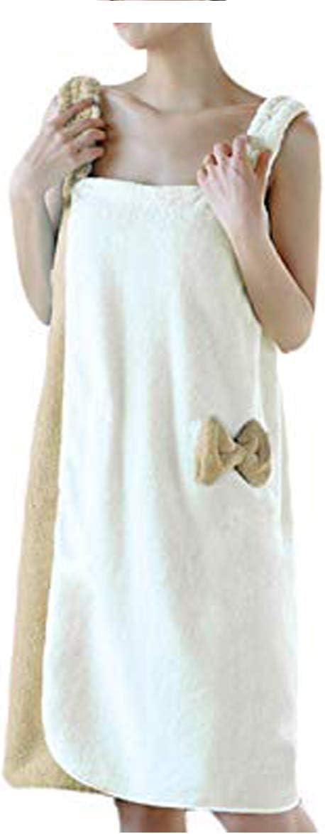 YJZQ - Albornoz de baño para mujer, sin banda, secado rápido, ideal para baño o sauna Brun Claire/Beige: Amazon.es: Hogar
