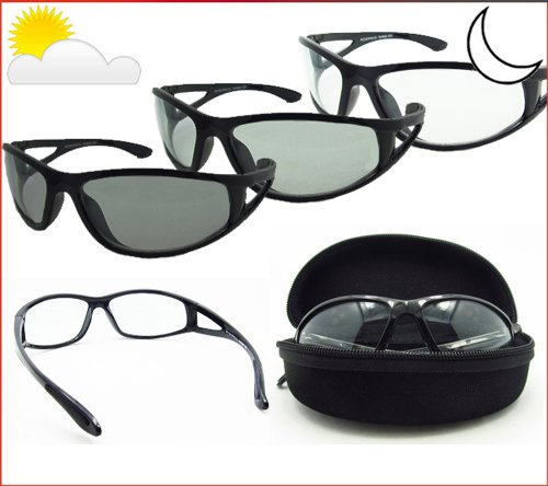 Light Adjusting Sunglasses with Side Shield for Men and Women. Safety Polycarbonate Photochromic Clear to Smoke Lenses. Free Hard Case. Elimntr/TR/HC