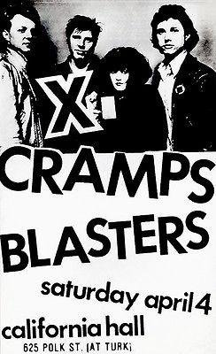Jazz Concert Poster - X - Cramps - Blasters - 1982 - California Hall - Concert Poster