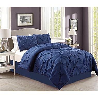 4 Pieces Solid Navy Blue Pinch Pleat Goose Down Alternative Comforter Set QUEEN Size Bedding