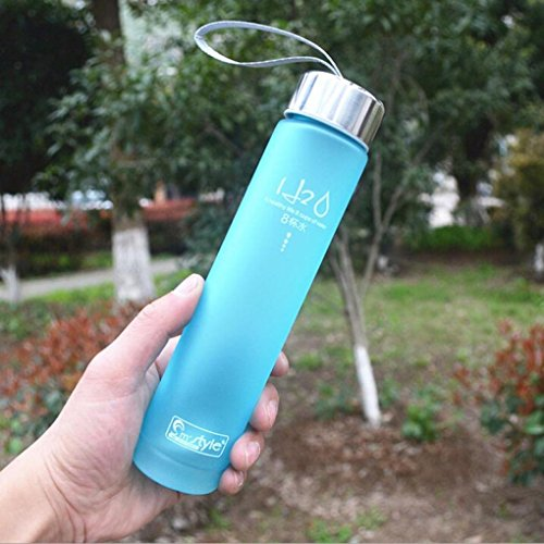Gotd Best Sports Water Bottle - 280ml Small - Eco Friendly & BPA-Free Plastic - For Running, Gym, Yoga, Outdoors and Camping - Fast Water Flow - Reusable with Leak-proof Lid (Blue)
