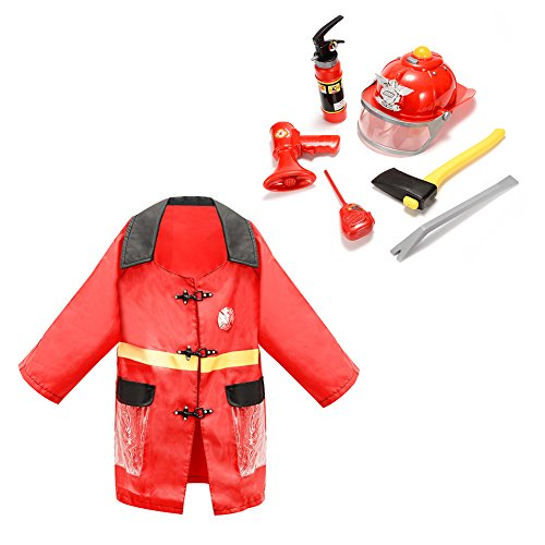 FunsLane Firefighter Role Play Toy Dress Up Set for Kids with Fireman Costume and Fireman Kit Toys (8 (Kids Fireman Dress Up)