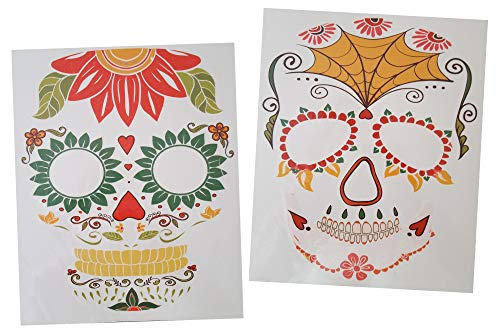 Halloween Face Tattoo Sparkle Stickers Day of the Dead Sugar Skull Couples Costume-2 Sheets (Spiderweb and Floral)