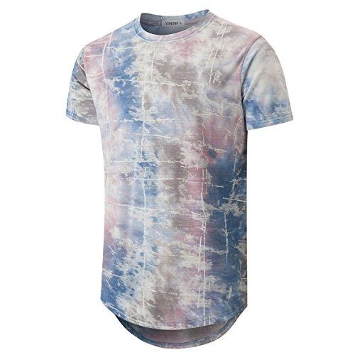 a276ff2d8 YININF Mens Hipster Hip-Hop Premiun Tees - Stylish Longline Latest Fashion Print  T-Shirts Pink+Blue XL (86 GZ)