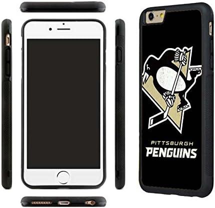 iPhone 7 Coque en TPU, Pittsburgh Penguins iPhone 7 Coque en caoutchouc, Coque arrière, avec film de protection d'écran en verre trempé
