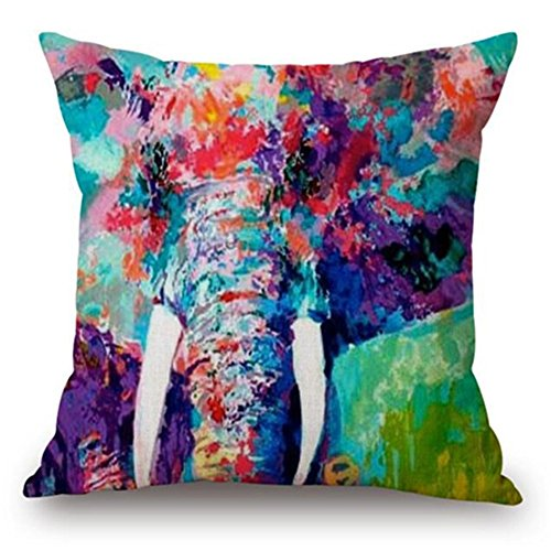 NITAN Baumwolle Leinen Dekokissen Fall Quadratisch Sofa Auto Dekorative Kissenbezug Kissenhülle Tier 45 x 45cm - Bunte Elefant Ölgemälde