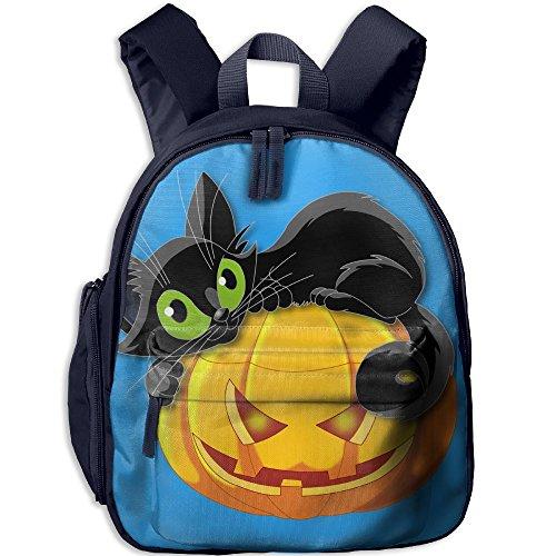 Halloween Cat Mini Pocket Print Shoulder Bag Bag Backpack For Your Little ChildrenNavy