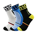 welltree Men Cycle Socks Ride Bike Tall Outdoor Athletic Sport Compression crew ( Black + White + Blue , 3 pair )