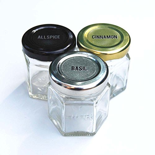 Gneiss Spice Large Empty Magnetic Spice Jars | Create a DIY Hanging Spice Rack on Your Fridge | Includes Hexagon Glass Jars, Magnetic Lids + Spice Labels (24 Large Jars, Silver Lids)