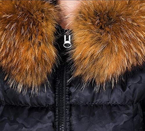 RG-CA Womens Casual Long Sleeve Faux Fur Hooded Grey Warm Thick Ladies Jacket Black M
