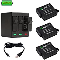 MIBOTE Rechargeable Battery (3 Pack) Triple Charger GoPro Hero 5 Black, Hero 6 Black, Hero (2018) (Fully Compatible Original Camera)