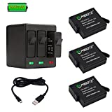 #10: MIBOTE Rechargeable Battery (3 Pack) and Triple Charger for GoPro Hero 5 Black, Hero 6 Black, Hero (2018) (Fully Compatible with Original Camera)