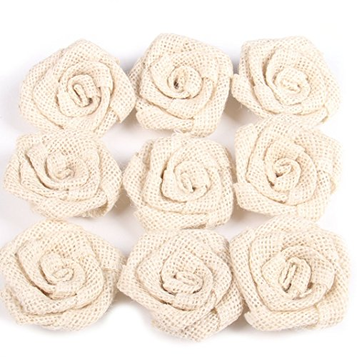Junxia Bud Silk Linen Little Rose for Children Holiday Party Decoration Christmas Wedding Decoration 12pcs (ivory) by Junxia (Image #2)