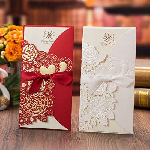 Kentop Lot de 50 cartes dinvitation de mariage avec int/érieur vide 21.5x11.3cm beige
