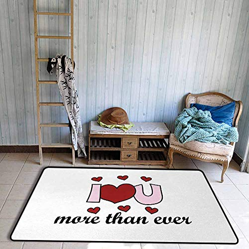 Outside The Door Rug I Love You More Special Message of Love Stylized Text Affection Infatuation Theme Durable W63 xL94.5 Ruby Baby Pink Black