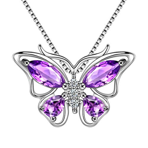 Gold Pink Amethyst Pendant - Aurora Tears 925 Sterling Silver Purple Butterfly Pendants Women Crystal Butterflies Jewelry Girls Cute Animal Necklace Dating Gift DP0013P
