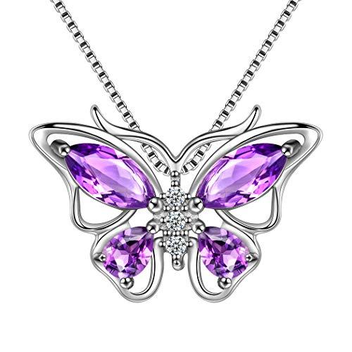 Aurora Tears 925 Sterling Silver Purple Butterfly Pendants Women Crystal Butterflies Jewelry Girls Cute Animal Necklace Dating Gift DP0013P