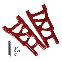 Mxfans 2 PCS Aluminium Alloy SLA007 Red Front And Rear Suspension Arm for TRAXXAS SLASH 4X4 & HQ727 Short Truck Model Car