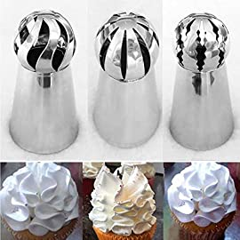 "9snail russian pastry ball icing tip, 3-pieces large cake decorating piping tip 1 start decorating your cake cupcakes muffins biscuits cookie sugar fondant paste cream pie pastry! Well made easy to use ruffles. Time savers for party. Including 3 different new sphere ball tips set. Large tips : height 2. 2"", top 0. 8""diameter, bottom 1. 2"", made of high quality 304 stainelss steel, durable, healthy, they are dishwasher safe. These will work with large tip coupler. 2. 5 in x 1. 75 in (6. 4 cm x 4. 4 cm). An awesome gift idea : put a smile on any bakery lover's face on wedding, halloween, christmas, new years and any other special days. These russian ball piping kit makes a terrific gift idea for any cake decorator, home baker or culinary school."