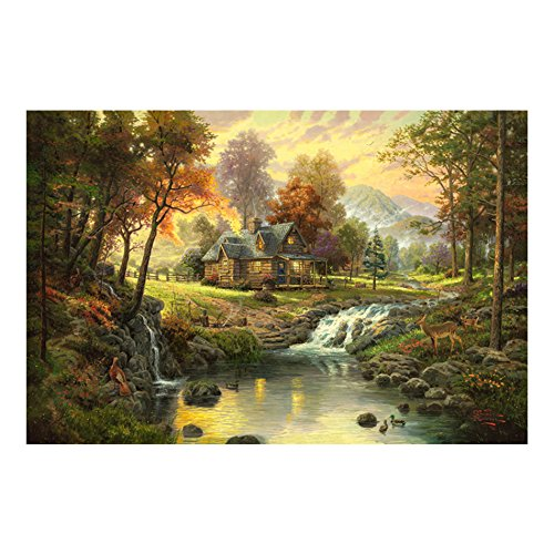 Mountain Retreat Canvas Oil Painting Prints Gorgeous Natural Scenery Landscape Picture for Wall Decoration,Easy to Hang,20x16 Inches (Scenery Painting Oil)