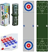 TORPSPORTS 2 in 1 Table Top Shuffleboard Pucks and Curling Games with 8 Rollers-Great for Everywhere Fun,Easy