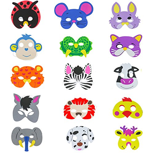 Buorsa 15 Counts Foam Cartoon Animal Face Masks for Kids Dress-up Costume Party Favors -